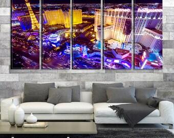 Las Vegas Casinos Canvas Wall Art Print, Las Vegas Cityscape, Las Vegas Skyline No:100