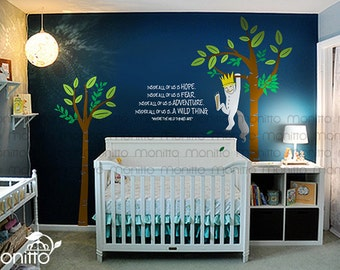 Where the Wild Thing are Max hanging from a tree with quote wall decal, Kids room Wall Decal,Wall Sticker [MT006]