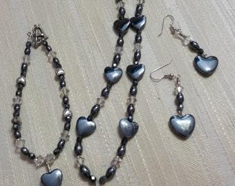 Hematite Heart Set