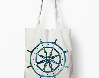 ship wheel shopping bag, nautical tote bag, canvas tote bag