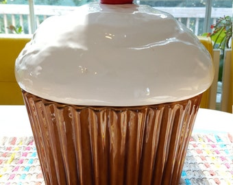 Vintage Cupcake Cookie Jar with a Cherry on Top