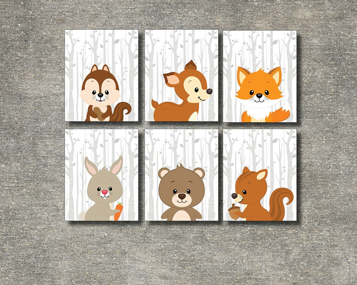 Woodland animals set of 6 printable nursery wall art forest for Ready set decor reviews