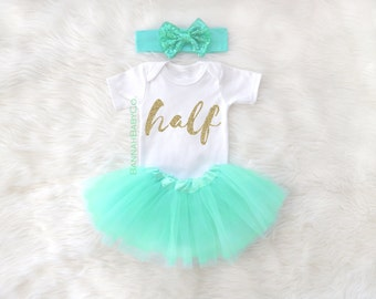 Half Birthday Girl Photo Shoot Prop Tutu Outfit Glitter Bodysuit Sparkly Shirt 6 Months Girls Baby Shower Gift Gold Aqua Mint Clothing Set