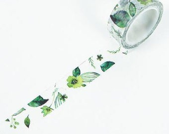green leafs Washi Tape, Masking Tape, Planner Stickers