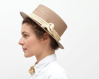 Light Brown Flat Brim Summer Hat