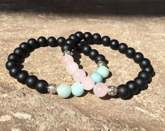 2 Pc Set! Light Pink + Light Blue Relationship Or Friendship Bracelet Set - Couples Bracelet - His/hers - Blue And Pink Set