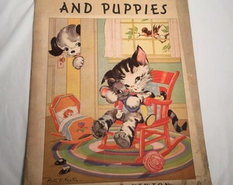 Vintage 1930's Kittens and Puppies Book