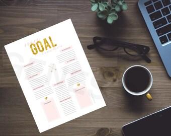 Goal Tracker - Goals, Goal Printable, Planner Pages, Instant Download, Household Binder, Life Planner, Goal worksheet, Goal Planning