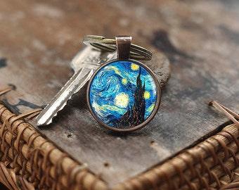 Van Gogh Keychain, Starry Night Keychain,Van Gogh gift,Classic Art Keychain, Van Gogh painting Keychain,