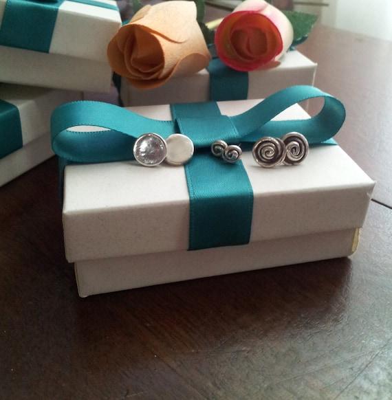 SET of 3 Sterling Silver Circular Stud Earrings