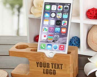 iPhone Dock Apple Watch Docking Station Custom Laser Engrave Natural Wood Samsung Galaxy Gear Smartphone Holder Personalized Father Day Gift