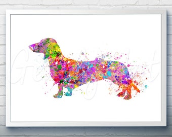 Dachshund Watercolor Art Print  - Home Living - Animal Painting - Dog Poster - Wall Decor - Home Decor - House Warming Gift