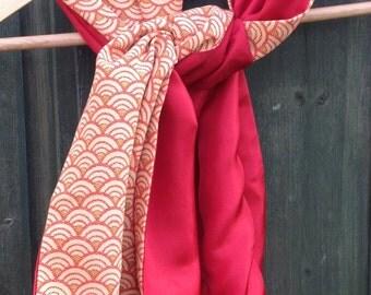 Vintage silk scarf japan, upcycling obi belt, red and beige