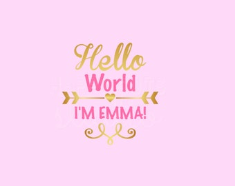 Hello World Baby Girl Coming Home New Baby Girl Going Home Personalized with Name and Colors Iron On Vinyl Decal 419