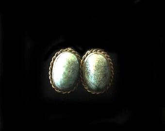 Vintage Blue Stone Earrings, Vintage Silver Earrings, Screw Back Earrings, Stone Earrings