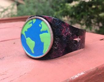 Cosmic galaxy earth adjustable planet cuff