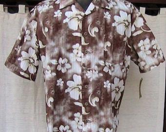 L All Cotton Vintage Brown Hawaiian Shirt