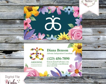 "Floral Watercolor Business Card // 3.5""x2"" // Double Sided // Personalized Digital Files"