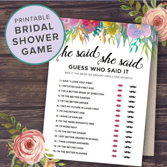 He Said She Said Bridal Shower Games Printable Floral Black