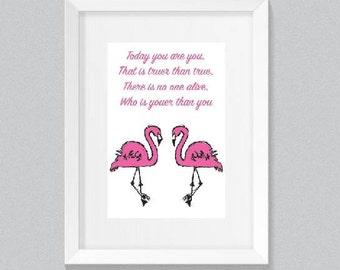 flamingo quote print