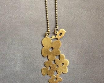 Brass Jewellery,Bird Flower Necklace Jewellery, Brass Necklace, Gold Necklace,Nature Necklace, Gift for her, Gold  Jewelry, Modern Jewelry