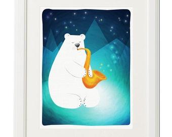 Nursery art, Illustration animal, Bear print, Music art print, Instant download, Gift, Digital file, Printable, Wall art, Drawing