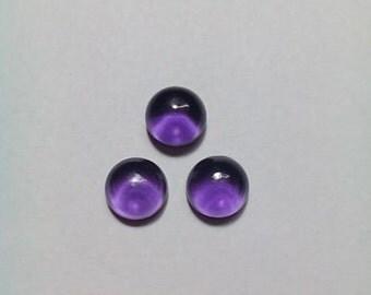 3 Pieces Amethyst Cabochon 8 MM
