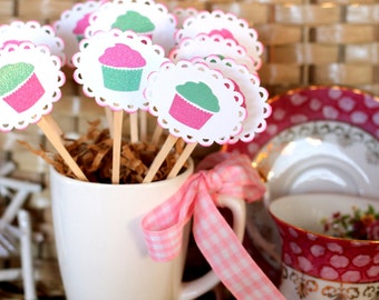 12 Cupcake Toppers, Pink, Green, Birthday, Shabby Chic