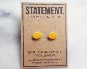 Lemon Fruit Peel Stud Earrings - 1 pair
