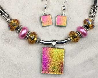 Pink & Gold Dichroic Jewelry Set