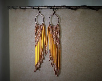 Phoenix Rising. Handwoven Winged Fringe Earrings