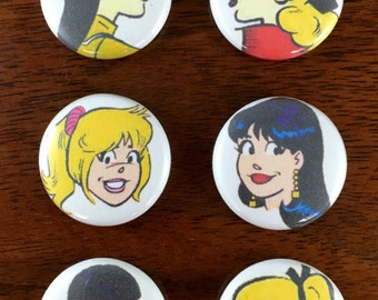 "Best Friends For Ever! Betty and Veronica 1"" Button and Magnet set of 6"