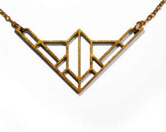Gold Geometric Laser Cut Wooden Necklace : #4
