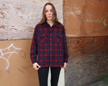 Red/Blue Pendleton Wool Button Down Vintage Plaid Warm Excellent Condition Fall Layers Warm Retro Western Grunge Flannel