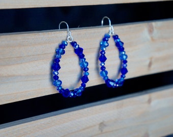 Blue Beaded Hoop Earrings, Beaded Hoop Earrings, Teardrop Beaded Earrings, Blue and Silver Hoops, Mulit-Shade Blue Earrings