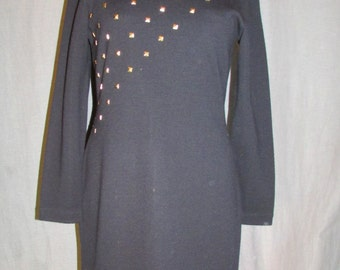 1980s Black Gold Studded Bodycon Sweater Dress by Outlander Size Medium