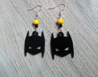 Earrings original Batman, Bruce Wayne, Crystal Swarovski, Czech crystal, geek, comics