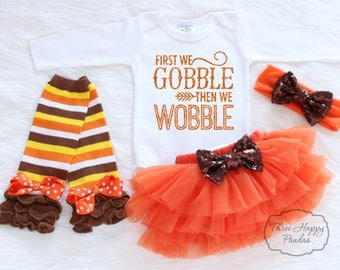 Baby Girl Thanksgiving Outfit, Baby Thanksgiving Bodysuit, Leg warmers and bow, First Thanksgiving Outfit, Gobble Gobble Onesie, HT2