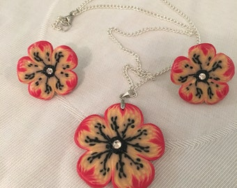 Flowers necklace + earrings polymer clay with Swarovski stones