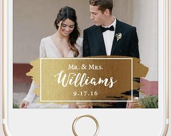 Elegant Gold Paint Stroke Wedding Snapchat Geofilter | Custom Personalized Instant Download | Birthday Filter | Bridal Shower Geofilter