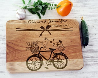 Bridal shower gift for|bride Personalized cutting board Wedding gift for|couple Just married Bicycle Chopping cheese board Bike Love birds