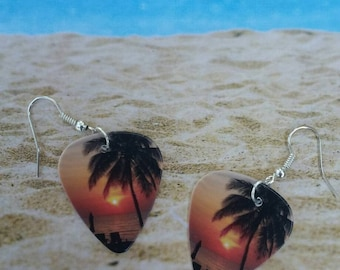 Guitar Pick Earrings - Guitar Pick Jewelry - Beach - Sunset - Palm Tree - Ocean - Music