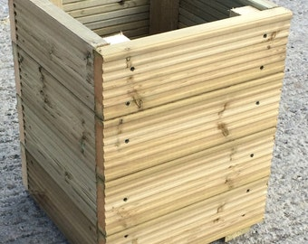Decking Wooden Garden Planter / Storage Box / Seat - Large Square 400mm wide - Available with a lid!