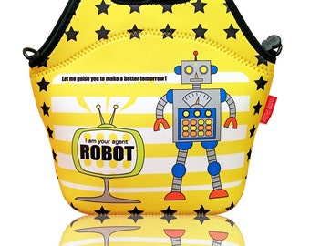 Neoprene Insulated Robot Lunch Bag For Kids - Zipper Secured - Detachable Shoulder Strap - Machine Washable - Great Gift Idea For Boys