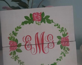 Shabby chic monogram with roses girl's nursery sign - personalized, initials