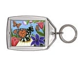 Fairy Cat Keychain Monarch Butterfly Tulips Fae Fantasy Cat Art Keychain Keyring Gifts For Cat Lovers