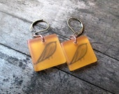 Bird Earrings, Drop Earrings, Dangle Earrings, Copper Earrings, Bird Jewelry, Cute Earrings, Burnt Orange Jewelry, Lucite Earrings, Bird