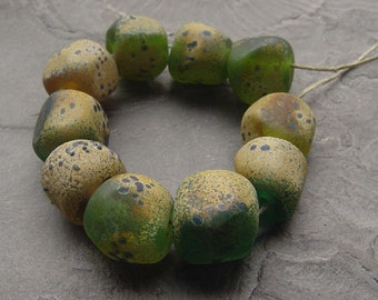 artisan lampwork, handmade  -  moosy green with raku and speckles - by Calisto