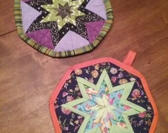 Folded Star Potholders