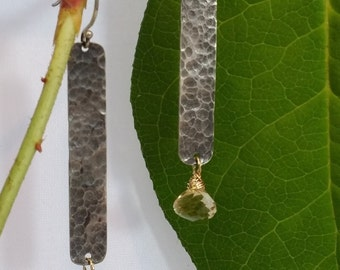 Hammered silver & Citrine Dangles
